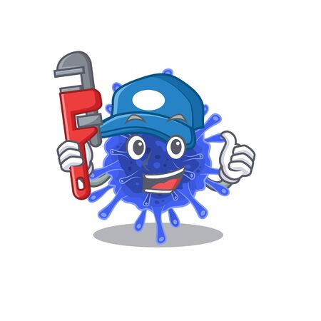 Smart Plumber bacteria coronavirus on cartoon character design. Vector illustration