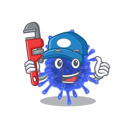 Smart Plumber bacteria coronavirus on cartoon character design. Vector illustration