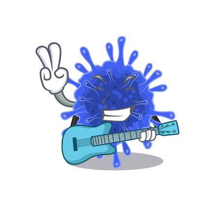 Super cool bacteria coronavirus cartoon playing a guitar. Vector illustration