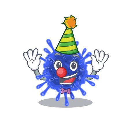 Cute and Funny Clown bacteria coronavirus cartoon character mascot style. Vector illustration