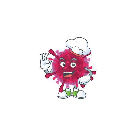 Amoeba coronaviruses cartoon character in a chef dress and white hat
