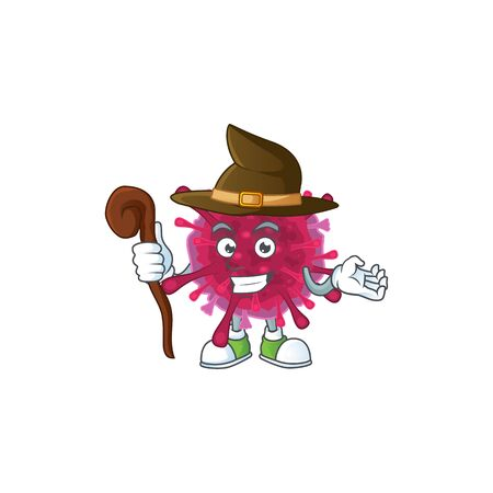 A cute amoeba coronaviruses performed as a witch on the stage