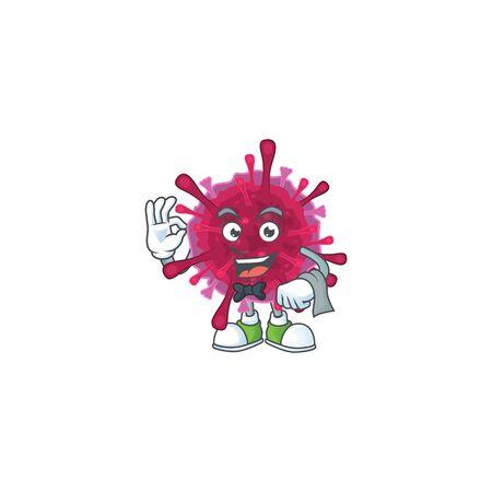 A amoeba coronaviruses cartoon mascot working as a Waiter