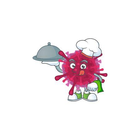 An icon of amoeba coronaviruses as a Chef with food on tray ready to serve 向量圖像