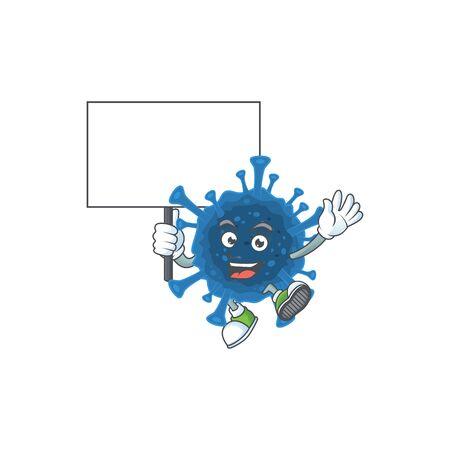 A picture of coronavirus desease cartoon character with board. Vector illustration Vecteurs