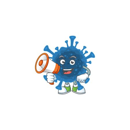 A chilly cartoon character of coronavirus desease with a megaphone. Vector illustration Illustration