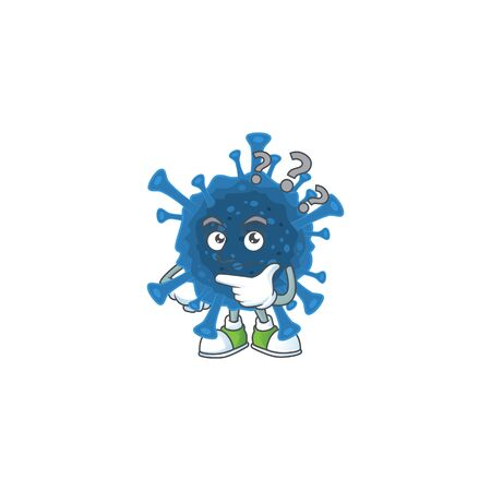 Coronavirus desease cartoon mascot style in a confuse gesture. Vector illustration