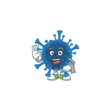 A coronavirus desease cartoon mascot working as a Waiter. Vector illustration