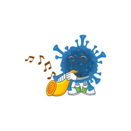 cartoon character style of coronavirus desease playing a trumpet. Vector illustration