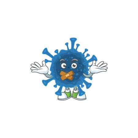 mascot cartoon character design of coronavirus desease making a silent gesture. Vector illustration Vectores