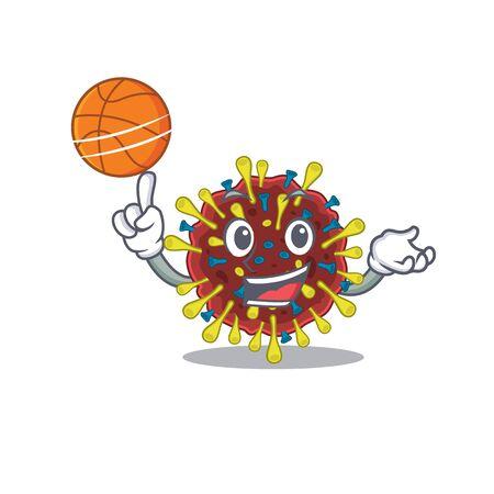 A sporty corona virus molecule cartoon mascot design playing basketball