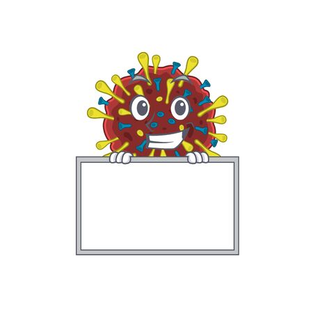 Smiley corona virus molecule cartoon character style bring board