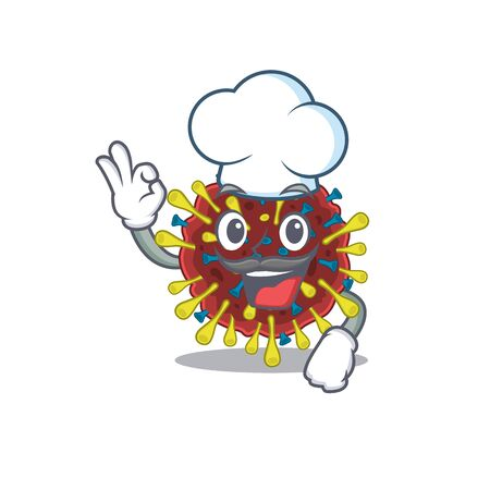 Cute corona virus molecule cartoon character wearing white chef hat. Vector illustration