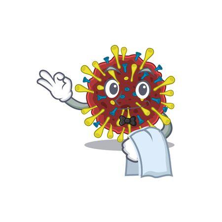 A design of corona virus molecule cartoon character working as waiter. Vector illustration 向量圖像