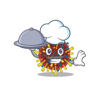Corona virus molecule as a chef cartoon character with food on tray 向量圖像
