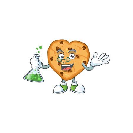 Chocolate chips love brainy Professor Cartoon design grasp a glass tube. Vector illustration