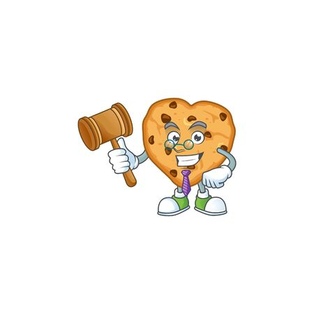 Chocolate chips love wise judge cartoon character design with cute glasses. Vector illustration
