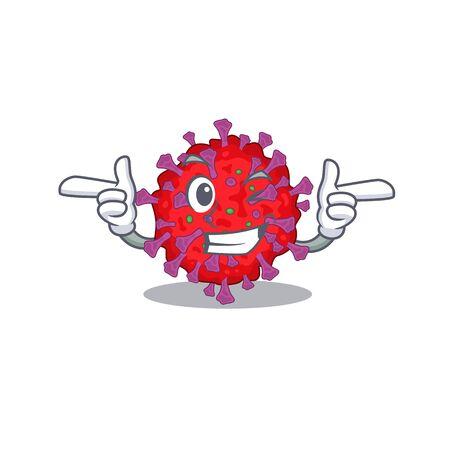 Smiley coronavirus particle cartoon design style showing wink eye