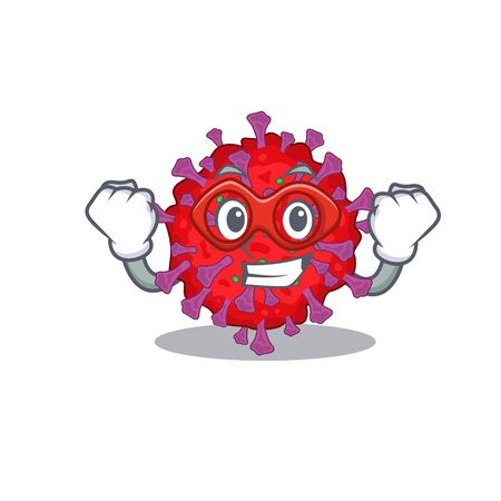 A picture of coronavirus particle in a Super hero cartoon character  イラスト・ベクター素材