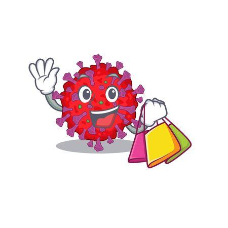 Happy rich coronavirus particle mascot design waving and holding Shopping bag