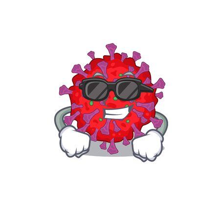 Super cool coronavirus particle mascot character wearing black glasses