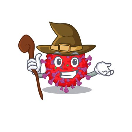 Cute and sneaky Witch coronavirus particle cartoon design style