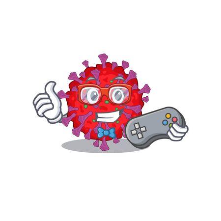 Cool gamer of coronavirus particle mascot design style with controller Vektorgrafik