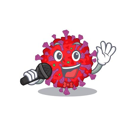 Cute coronavirus particle sings a song with a microphone