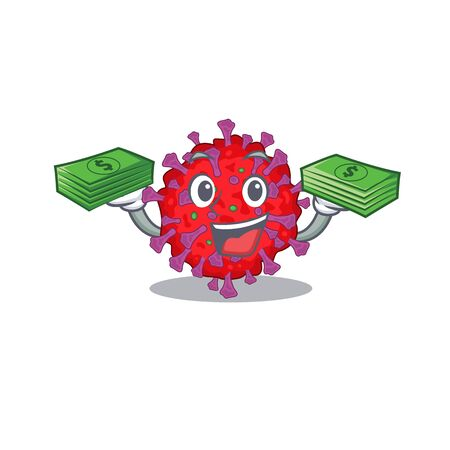 happy face coronavirus particle character having money on hands Illusztráció