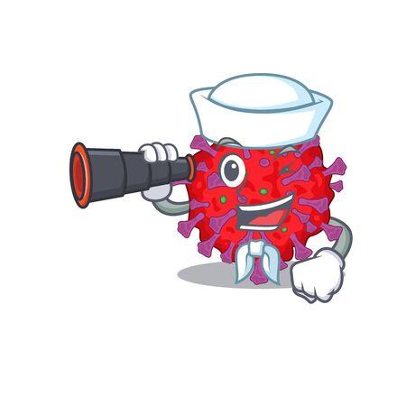 Coronavirus particle in Sailor cartoon character design with binocular