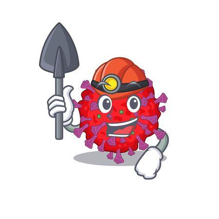 Cool miner worker of coronavirus particle cartoon character design