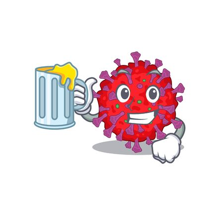 Cheerful coronavirus particle mascot design with a glass of beer