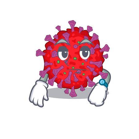 Coronavirus particle on waiting gesture mascot design style
