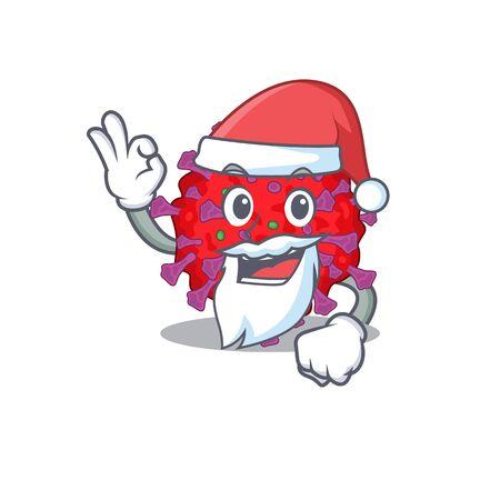 coronavirus particle in Santa cartoon character design showing ok finger