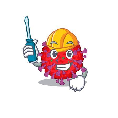 Smart automotive coronavirus particle presented in cartoon character design