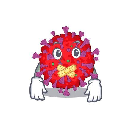 Coronavirus particle mascot cartoon character design with silent gesture