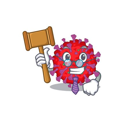 Charismatic Judge coronavirus particle cartoon character design wearing cute glasses