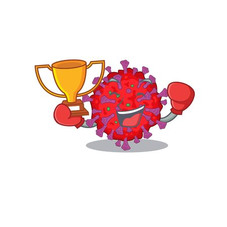 Happy face of boxing winner coronavirus particle in mascot design style