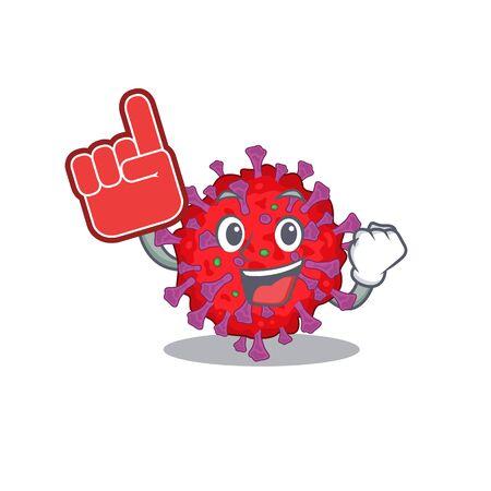 Coronavirus particle mascot cartoon style with Foam finger Illusztráció