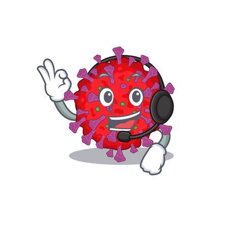 Charming coronavirus particle cartoon character design wearing headphone Illusztráció