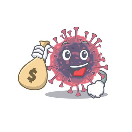 Smiley rich microbiology coronavirus cartoon character bring money bags