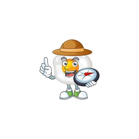 Fried egg an experienced explorer working using a compass. Vector illustration