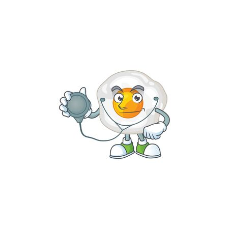 A cartoon character of fried egg Doctor using tools. Vector illustration Ilustração