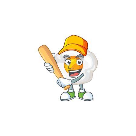 Cartoon design of fried egg having baseball stick. Vector illustration