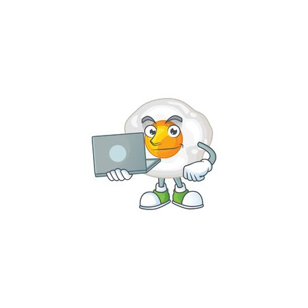 smart student of fried egg using a laptop. Vector illustration