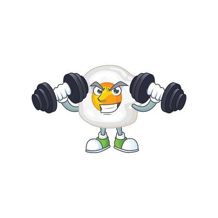 Mascot design of grinning Fitness exercise fried egg lift up barbells. Vector illustration Ilustração