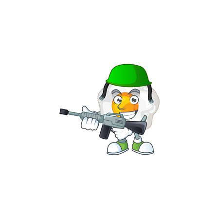 An elegant picture of fried egg as an Army having machine gun. Vector illustration