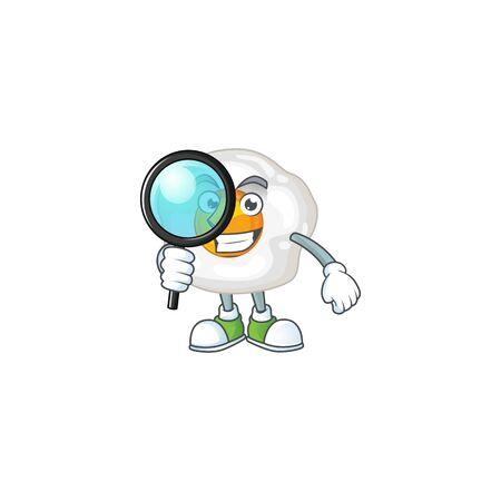 Cool and Smart fried egg Detective mascot design style. Vector illustration Ilustração