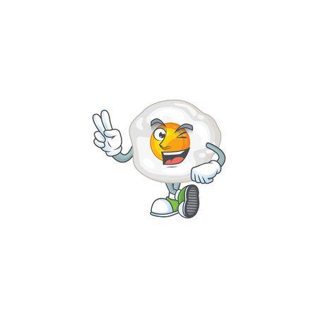 A joyful fried egg mascot design showing his two fingers. Vector illustration Ilustração