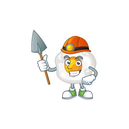 Cool miner worker of fried egg cartoon design concept. Vector illustration